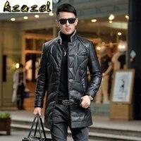2020 new leather down jacket male long windbreaker slim korean coat stand collar business casual winter jacket for men tide