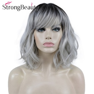 StrongBeauty Wavy Wigs with Bangs Medium Length Grey Hair with Dark Roots Premium Synthetic Heat Resistant Wowen Wig