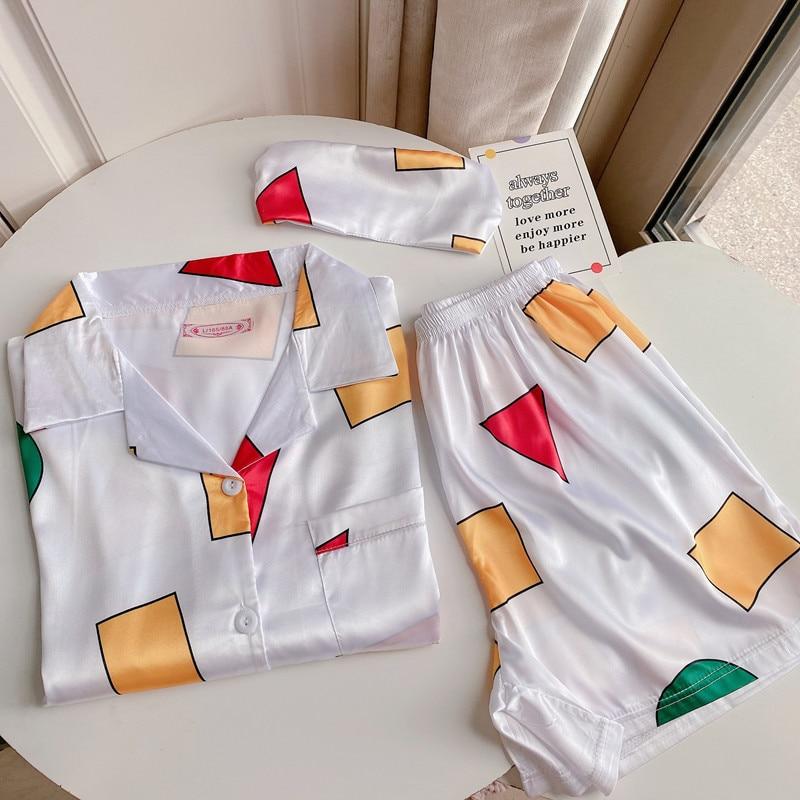 Пижама Sinchan, женская пижама с шортами, комплекты летней домашней одежды в том же стиле для мужчин и женщин