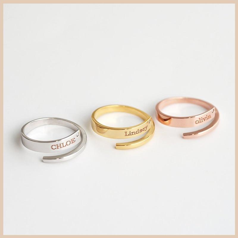 YSH-خاتم نسائي من الفضة الإسترليني عيار 925 محفور عليه اسم وحجر الميلاد ، مجوهرات مخصصة ، هدية ، شحن مجاني ، عرض خاص