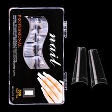 500 pièces/ensemble 10 tailles ballerine ongles conseils français cercueil faux ongles demi couverture ongles clair/naturel forme plate ongles faux
