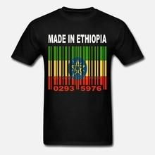 صنع في إثيوبيا الإثيوبية العلم الأفريقي مخصص الباركود أرقام تي شيرت Y70