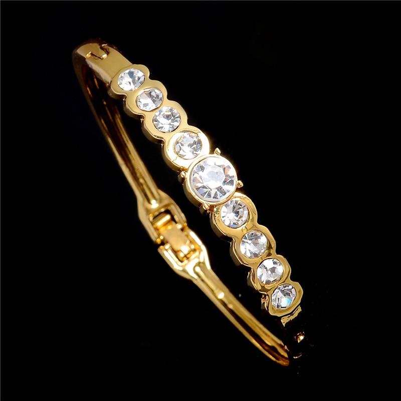Brazaletes de moda de Color dorado de Dubái, joyería de diamantes de imitación de cristal para bodas, pulseras y brazaletes para mujeres 2020