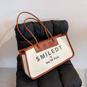 Women Retro Letter Canvas Tote Bag Women High Capacity Shoulder Bag 2021 Fashion New Branded Travel Shopping Handbags and Purses