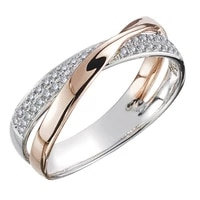 newest fresh two tone x shape cross ring for women dazzling cz stone large modern rings anillos wedding trendy jewelry