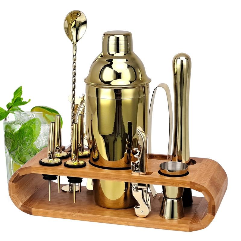 New Cocktail Shaker Set Oval Bamboo Stand Base Bar Bartender Bartender Wine Artifact Tool Set Rose Gold Black 12-piece Set