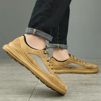 mens casual leather shoes outdoor luxury non slip soft breathable sports shoes fashion soft bottom low top leather mens shoes