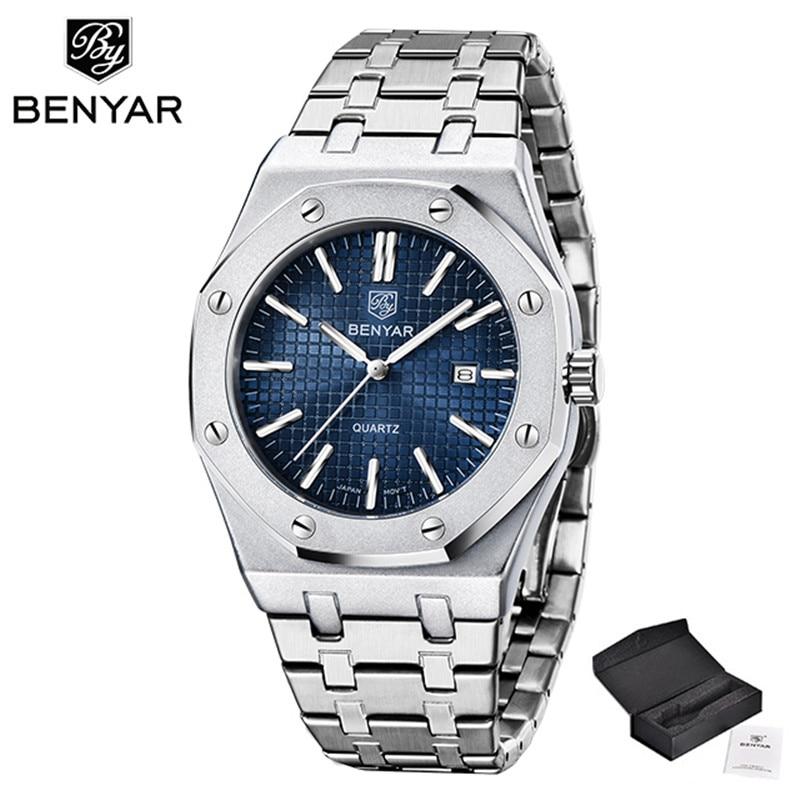 2021 Benyar تصميم العلامة التجارية العليا ساعة رجالية ساعة كوارتز الفولاذ المقاوم للصدأ التلقائي مقاوم للماء ساعة Relogio Masculino MonTre أوم