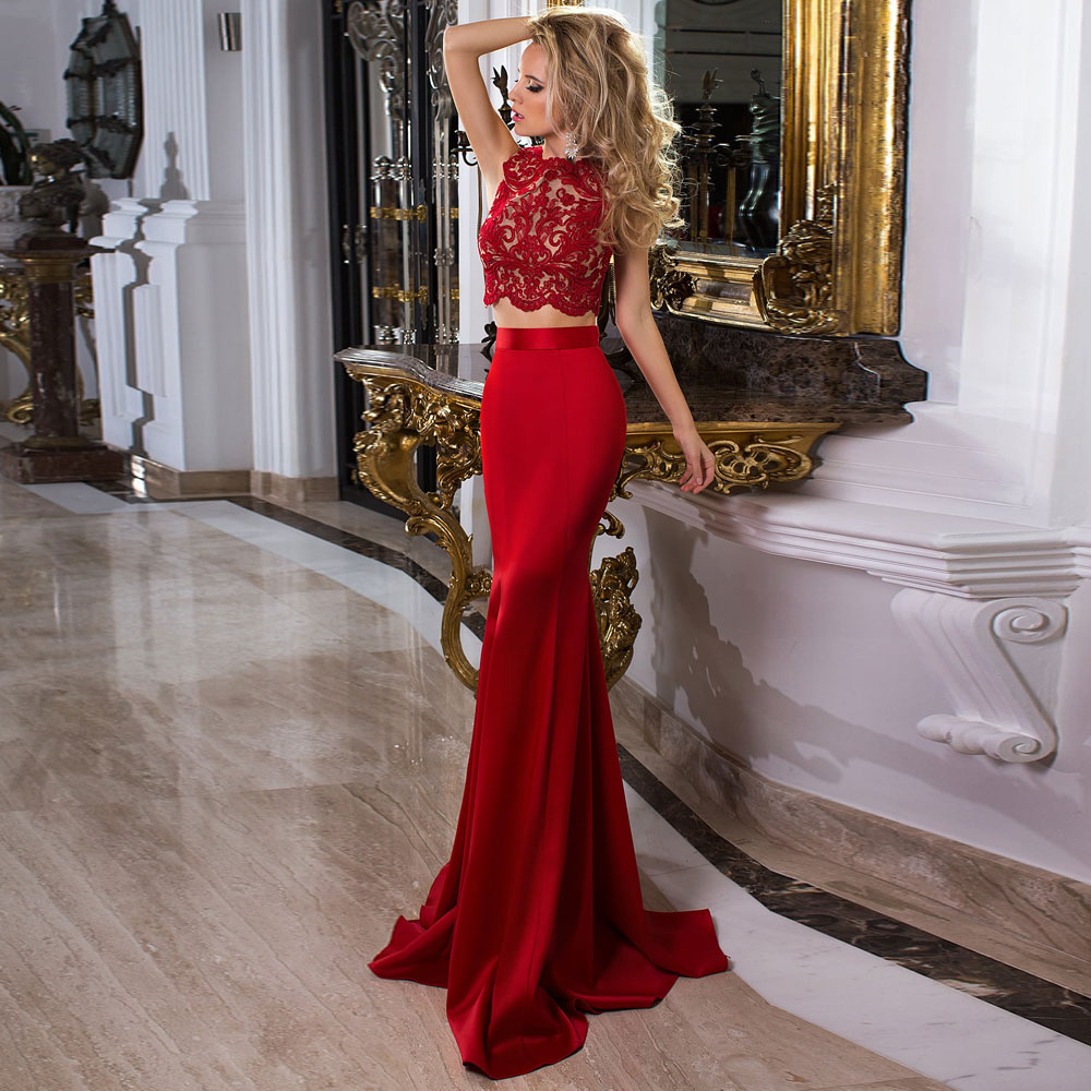 Applique Red Mermaid / Trumpet Jewel Sweep/Brush Floor length Zipper Sleeveless Evening Dresses Fashion 2021 high quality