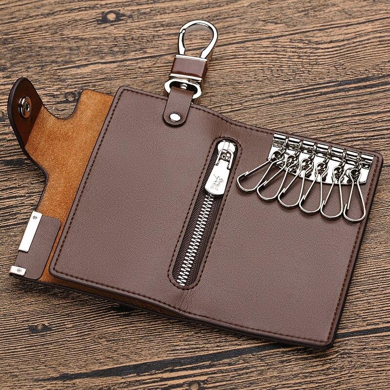 محفظة مفاتيح السيارة ، جلد طبيعي ، بسحاب ، للرجال, محفظة لمفتاح السيارة ، علامة تجارية فاخرة ، مزودة بمشبك مصنوع من الجلد الطبيعي ، مساحة للعم...