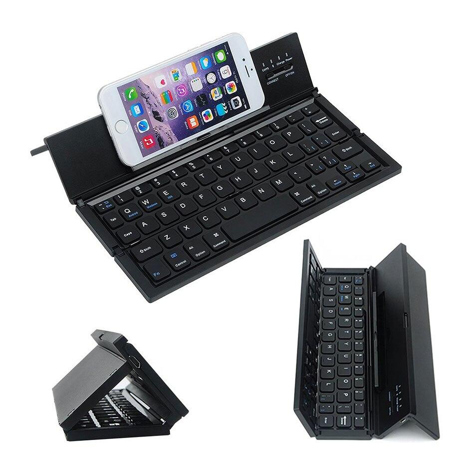 Mini teclado dobrável bluetooth para o telefone móvel tablet computador compatível para ios android windows teclado sem fio tri-fold