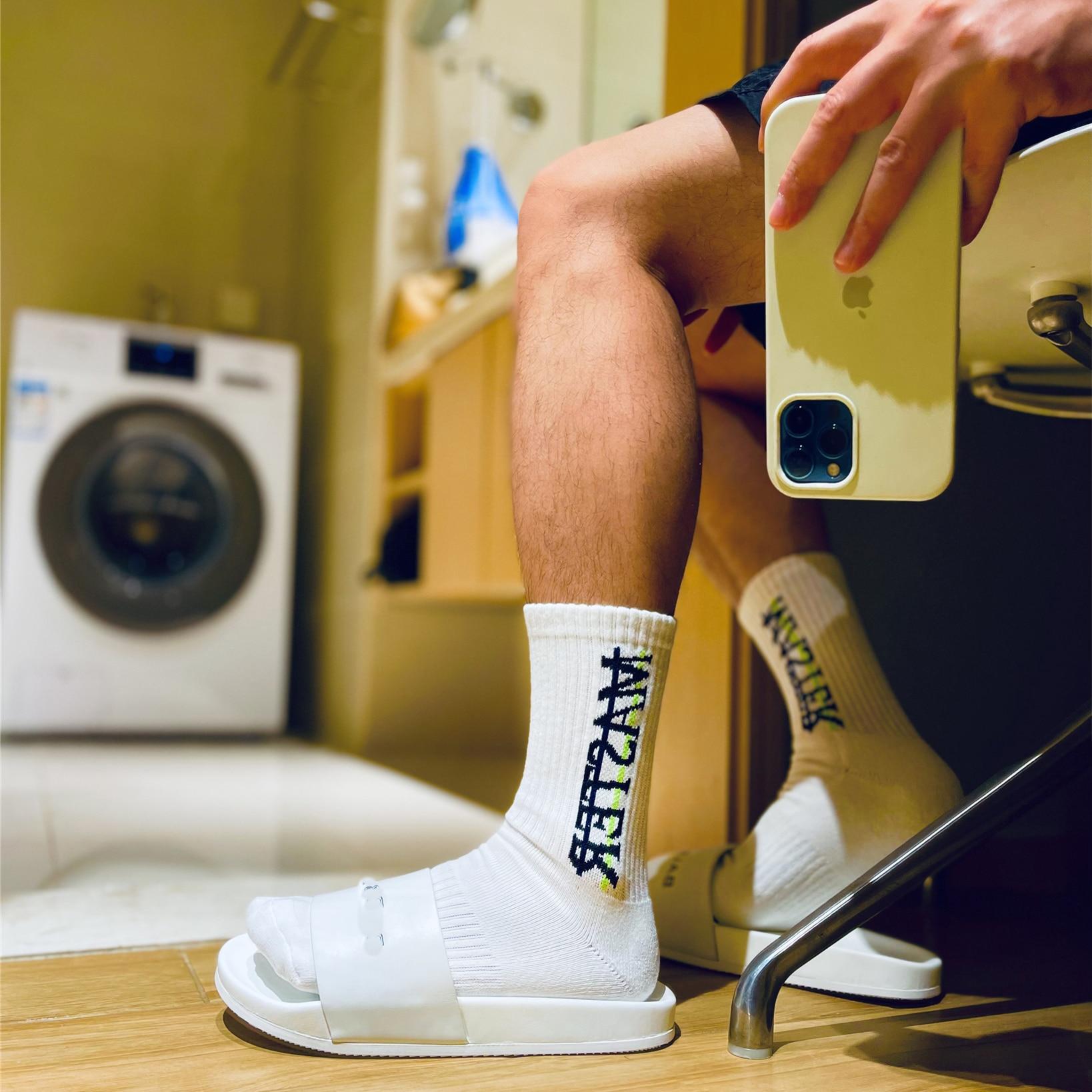 Модные Белые Носки гей верх Верх Низ сексуальные мужские спортивные длинные носки уличная одежда носки с надписью удобные носки