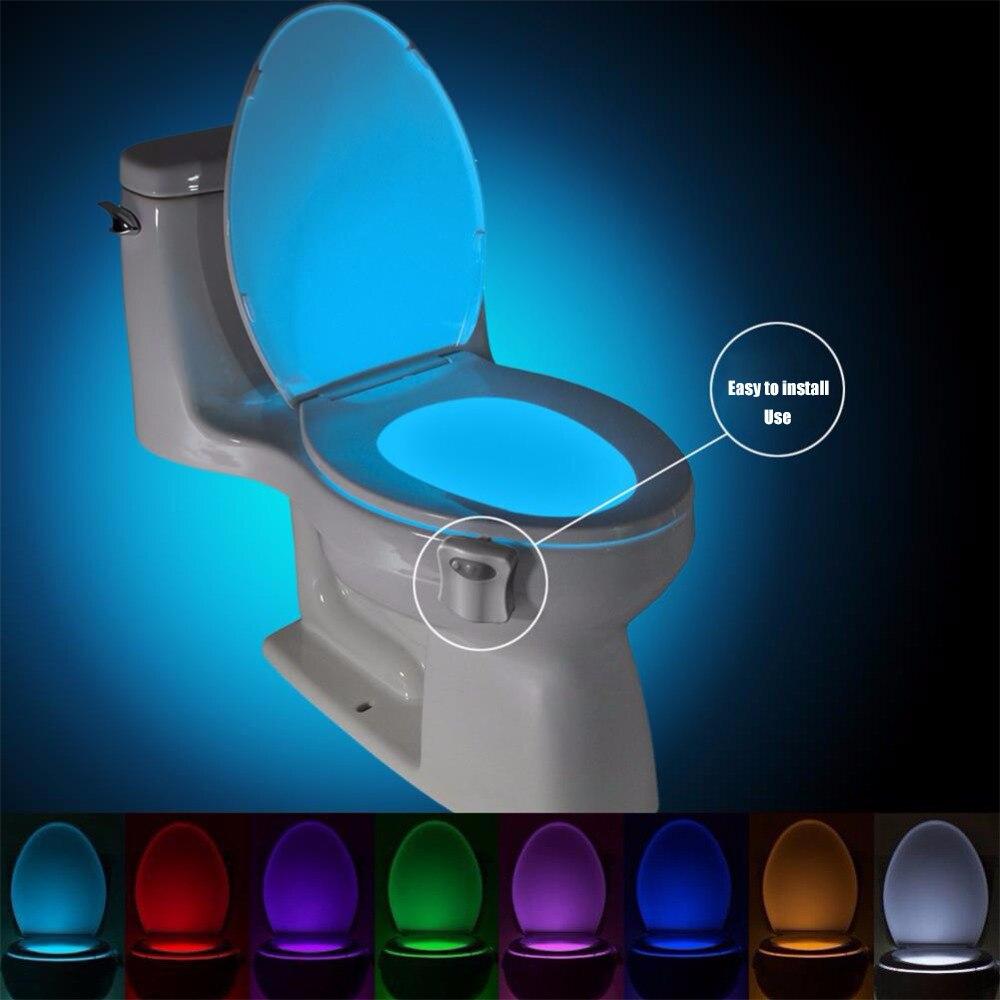 Умный датчик движения PIR Ночная лампа для унитаза 8/16 видов цветов водонепроницаемая подсветка унитаз Светодиодная лампа для унитаза
