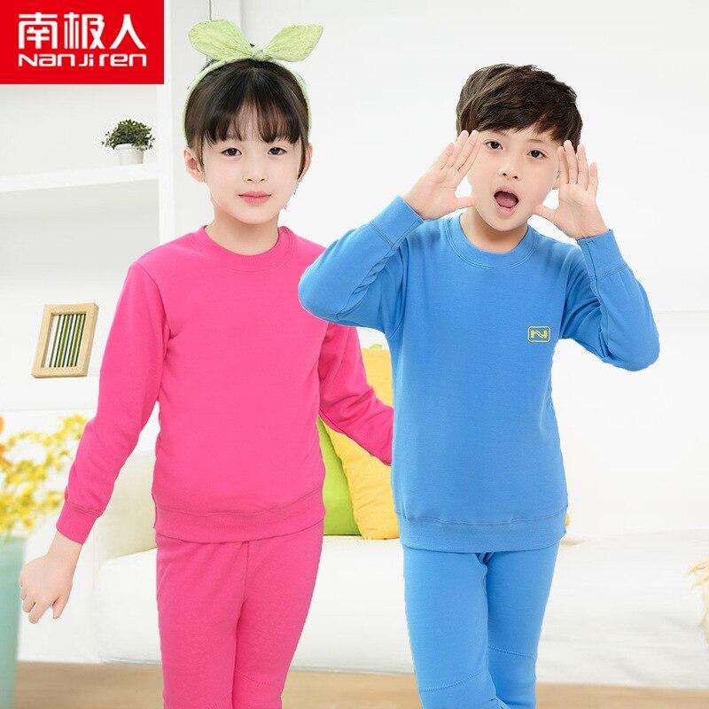 القطن القطبية الجنوبية ملابس اخلية حرارية للأطفال بالإضافة إلى المخملية سميكة الفتيان والفتيات الخريف والشتاء الاطفال ملابس اخلية حرارية