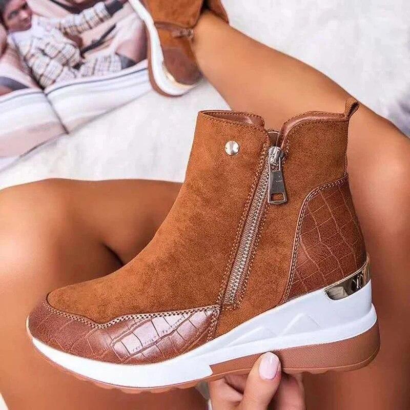 Women Sneakers 2020 Autumn High Top Vulcanize Shoes Women Platfrom Wedges Shoes Zipper Chunky Sneake