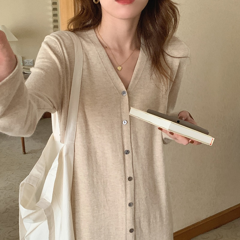 spring and autumn v neck single breasted knit dress multicolor temperament striped sweater dress long sleeve woman sweaters Jyate Autumn Elegant Women's Sweater Dresses Single-Breasted V-Neck Long Sleeve Loose Casual Dress Korean Style Female Vestidos