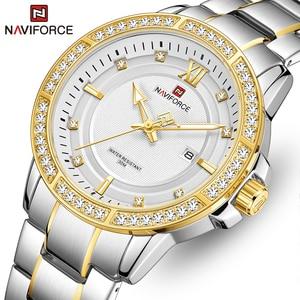 Top Brand NAVIFORCE Men Watch Fashion Luxury Business Watches with Rhinestone Mens Stainless Steel Wristwatch Relogio Masculino