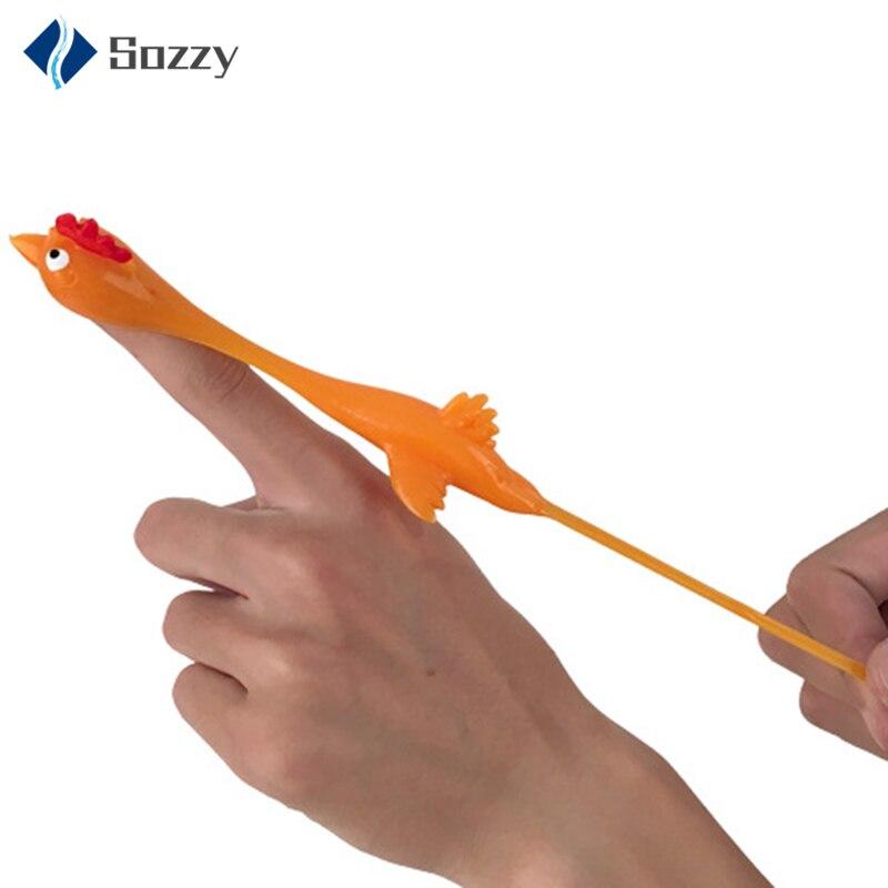 Elástico Stretchy Flick Turquía dedo Honda Sticky Flying pollo juguetes para niños pequeños juguetes Tricky Strange y excéntrico ventilación