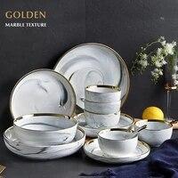 marble porcelain dinnerware set with bowldinner platedessert plate ceramic dishes plates for food salad soup bowl restaurant