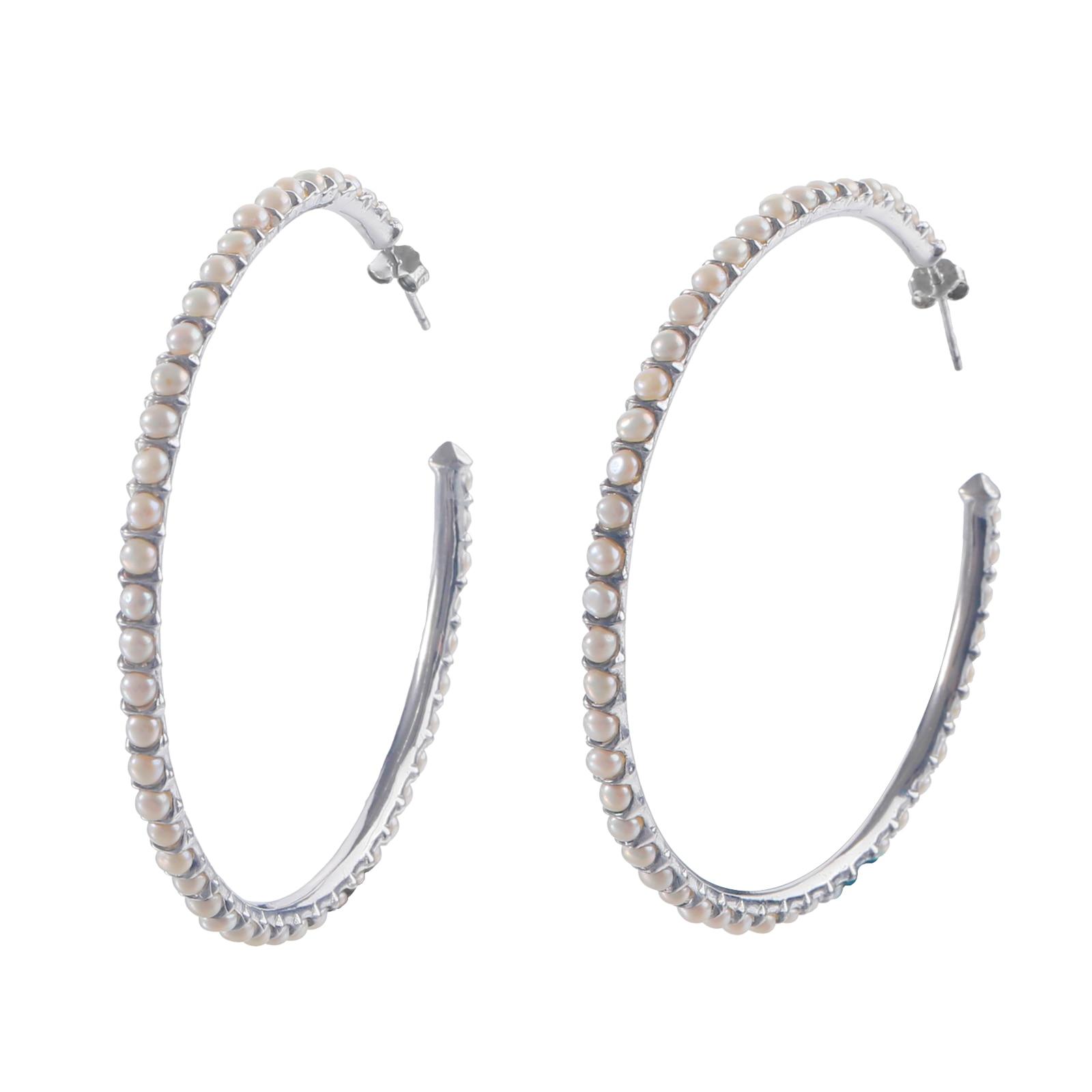 New Natural Freshwater Pearl Hoop Earrings For Women C Shape Handmade Earrings Fashion Party Charm F