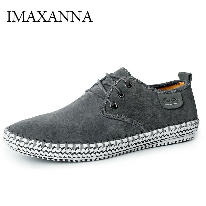 IMAXANNA-حذاء كاجوال برباط من الجلد الطبيعي للرجال ، حذاء مشي عالي الجودة ، مقاس كبير 38-48 ، الخريف والشتاء