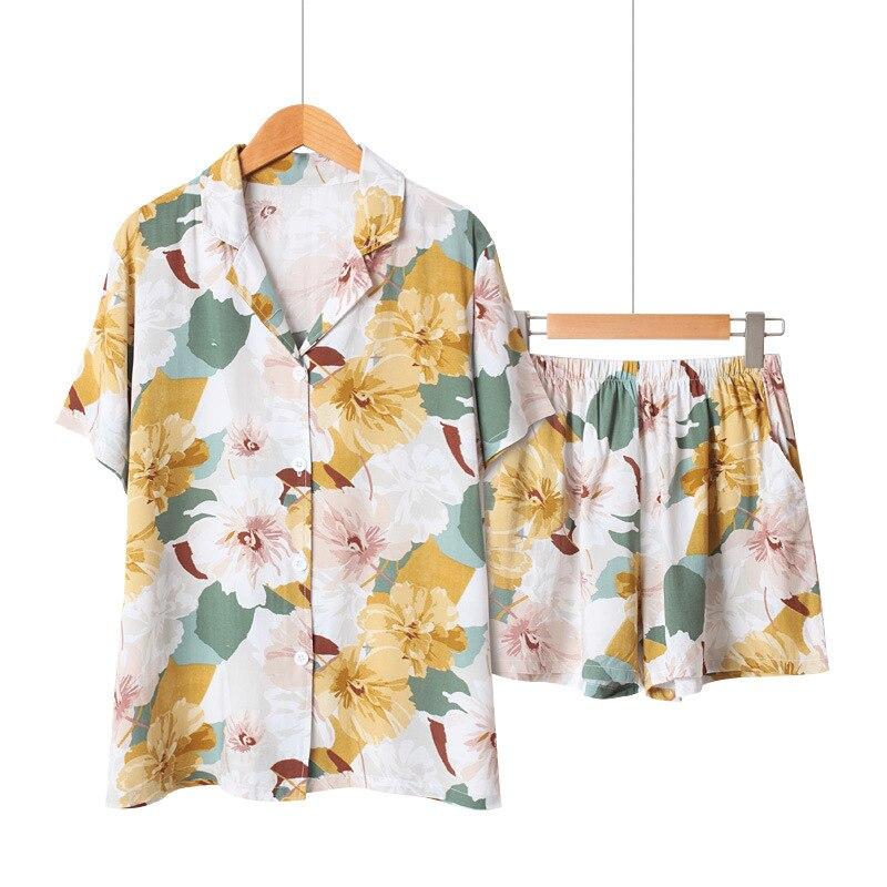 Pyjamas à manches courtes en Satin dété pour femmes col rabattu vêtements de nuit impression florale Pijama Mujer Shorts vêtements de maison ensemble Pj