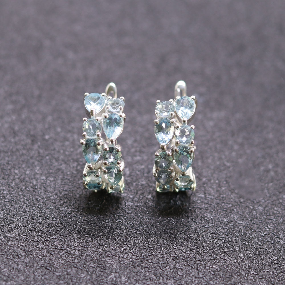 MH 100% natural blue topaz earring sold real 925 Sterling Silver Fine Jewelry sweet woman engagement gift