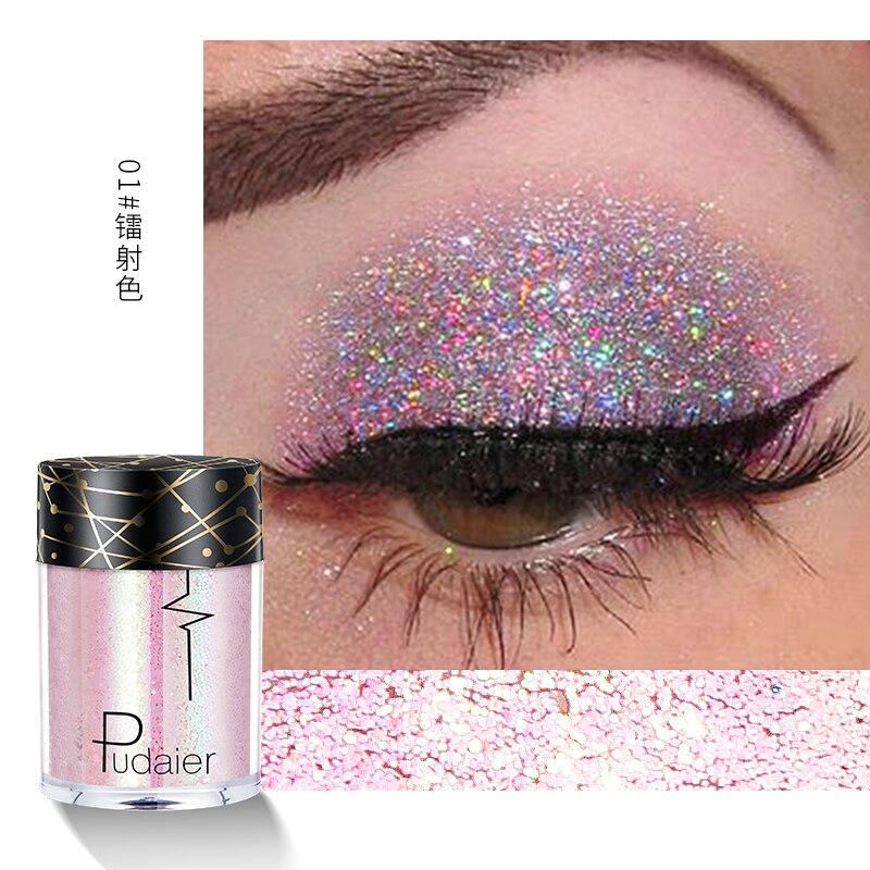 Purpurina en polvo Pudaier, 36 colores, doble cromo, sombra de ojos, lentejuelas holográficas metálicas brillantes, sombra de ojos corporal de diamante