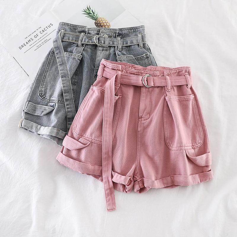 Pantalones cortos de cintura alta de moda coreana, pantalones cortos de mujer, pantalones cortos de tela vaquera con fajas de color rosa y gris, pantalones cortos de pierna ancha ajustados informales y elegantes con bolsillo