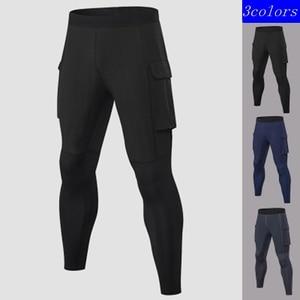 Quality Traning Tights Pants Men Elastic Waist Pocket Compression Leggings Fitness Pants Man Gym Running Pants Skinny Leggins