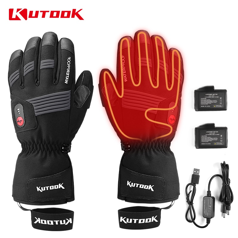 KUTOOK USB Rechargeable Battery Heated Gloves Thermal Men Winter Waterproof Ski Snowmobile Motorcycle Snowboard Snow Accessories