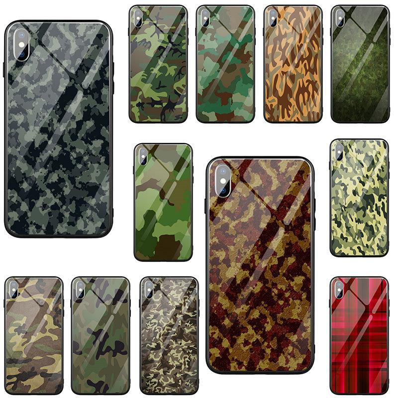 Fundas para teléfono móvil de vidrio templado con patrón de camuflaje carcasa para iphone 7 6S 6 8 Plus X XR XS 11 Pro Max