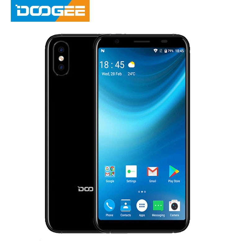 2018 doogee x55 android 7.0 5.5 Polegada 18:9 hd mtk6580 quad core 16 gb rom câmera dupla 8.0mp 2800 mah lado impressão digital smartphone