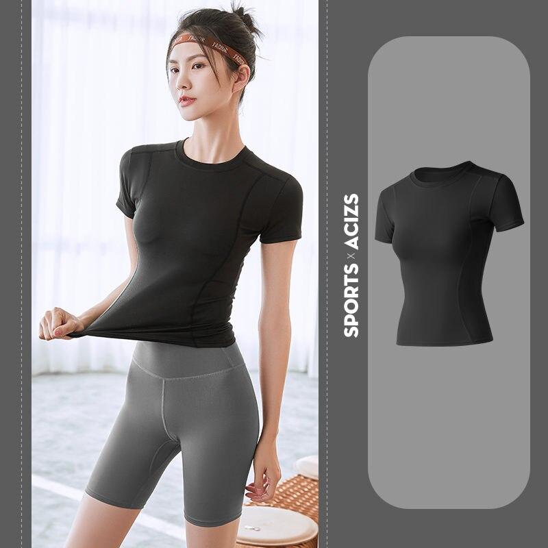 Женские рубашки для бега, сексуальные футболки для йоги, облегающие быстросохнущие кроп-топы для фитнеса и спортзала, однотонные спортивны...