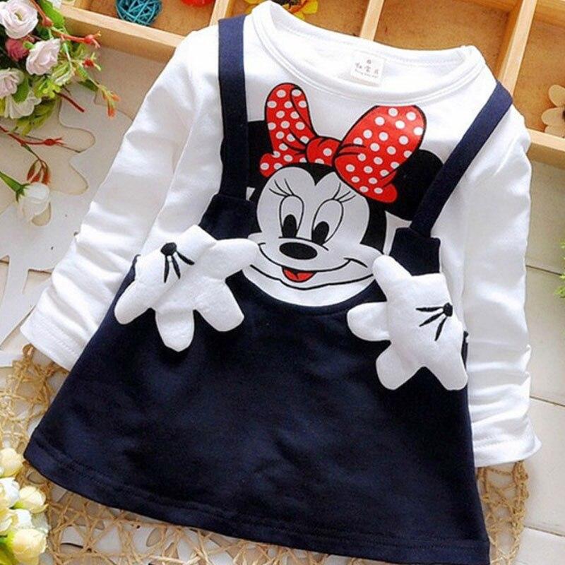Новое летнее Хлопковое платье с длинными рукавами и рисунком для маленьких девочек детская одежда детские платья принцессы повседневная одежда для детей от 0 до 2 лет
