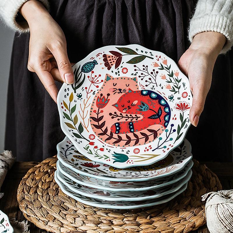 لوحة سيراميك 8 بوصة أطباق مستديرة الإبداعية الكرتون القط المطبخ أدوات المائدة المنزلية عشاء الخبز الفاكهة الحلوى صينية زهرة