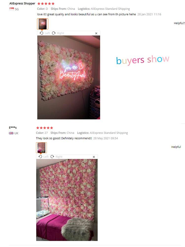 Купить с кэшбэком 60x40cm Artificial Flowers DIY Wedding Decoration Flower Wall Panels Silk Rose Flower Pink Romantic Wedding Backdrop Decor
