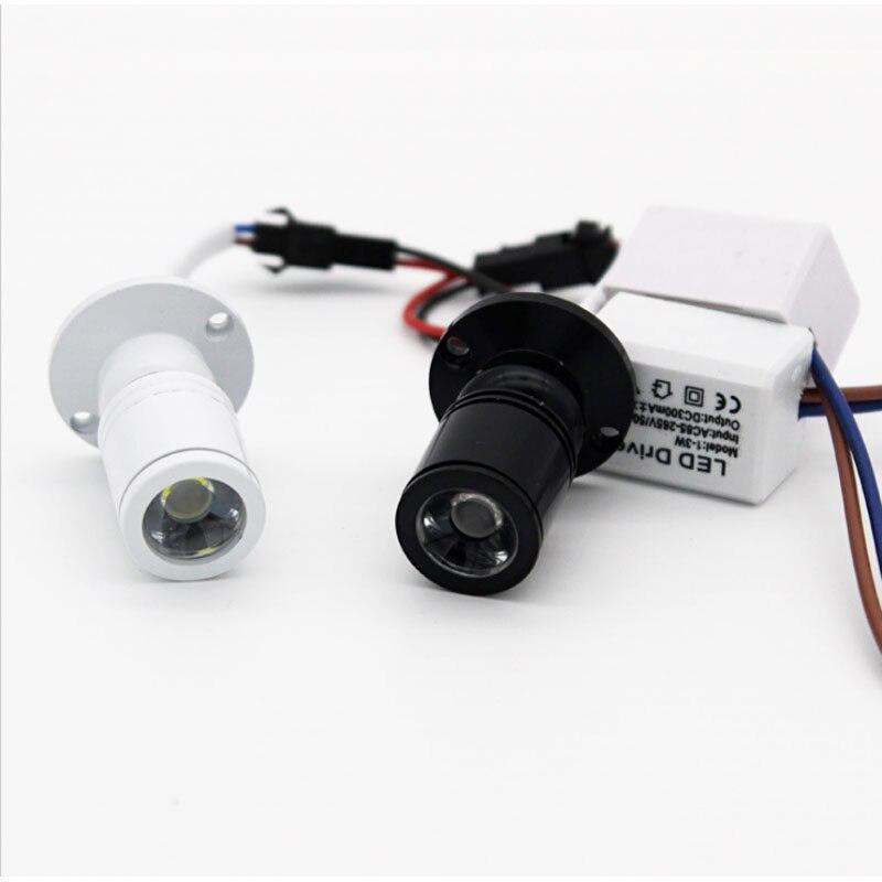 3 w led recesso gabinete mini luz de ponto 110 v 220v pode ser escurecido downlight showcase display luz branco/preto