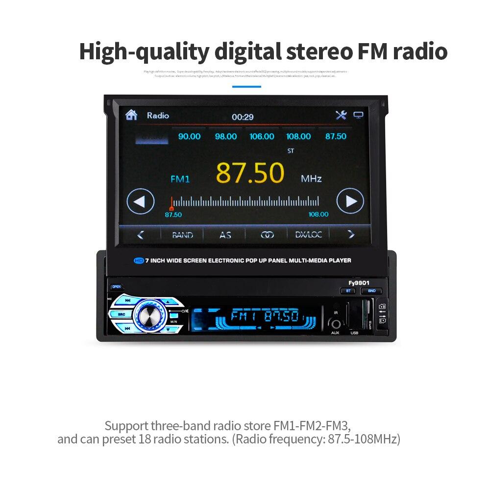 Bluetooth 7 Inch 1Din Motorized Pop Up /Pull Back Touch Screen Car Radio MP5 Player Autoradio Car Audio Multimedia Player 9901