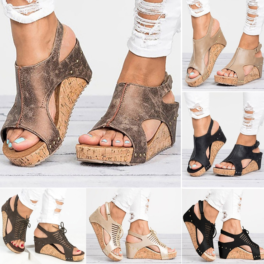 Women Sandals Platform Sandals Wedges Shoes Women Heels Gladiator Sandalias Mujer Summer Shoes Peep Toe Wedge Heels Sandals