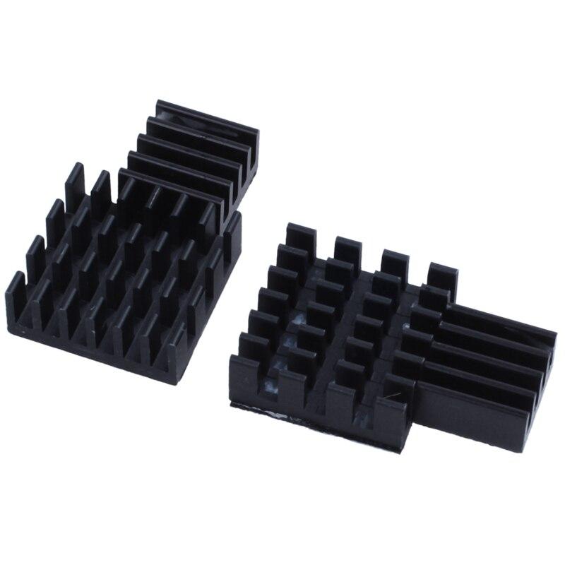 10 Uds kit de refrigeración de disipador térmico de aluminio negro para Raspberry Pi 3, Pi 2, Pi Modelo B +