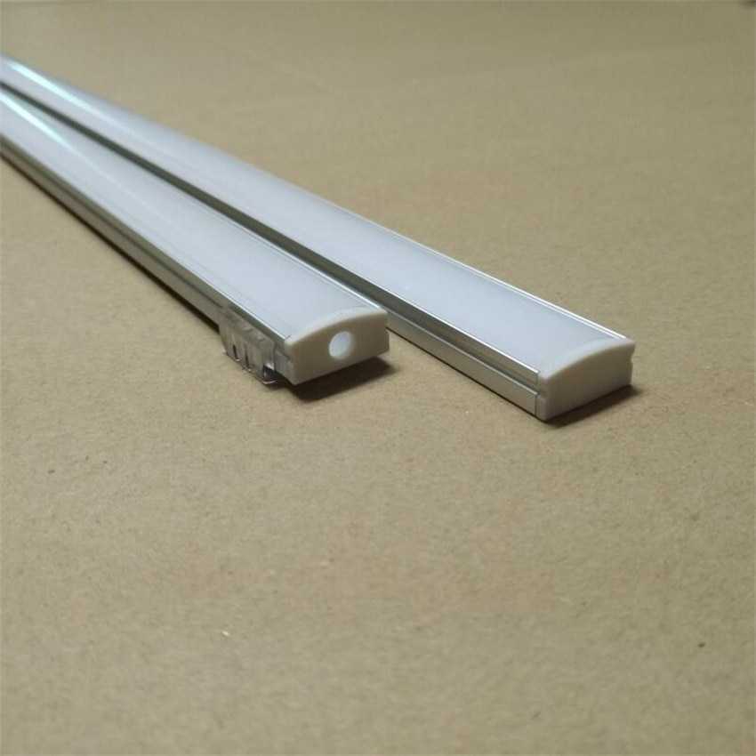 Free Shipping 2M/Pcs Aluminum Profile(Anodized Silver Color) with PC Cover for 12mm Wide Flexible or Hard LED Strips