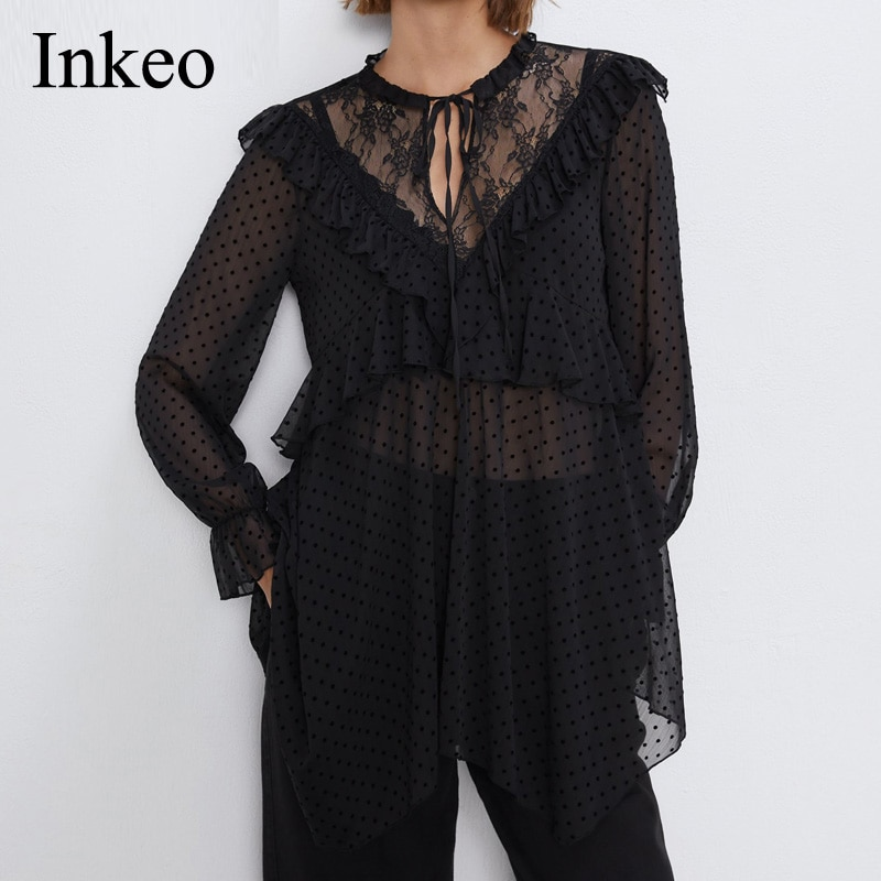 Blusa sexi de mujer con volantes 2019 Nuevo negro de manga larga, camisa de malla femenina, moderna blusa asimétrica semitransparente para vacaciones INKEO 9T003