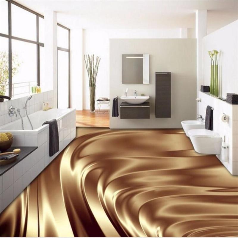 Custom floor painting 3D beautiful golden metal flooring tile stereo papel de parede TV background wall