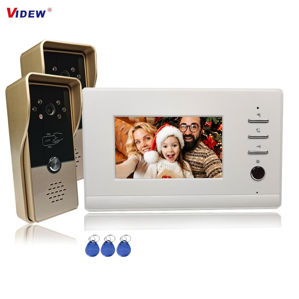 VIDEW 4 Wired Video Door Phone Intercom System RFID Unlock Camera Doorbell 4.3 Inch Monitor Night Vision Door Entry for Villa