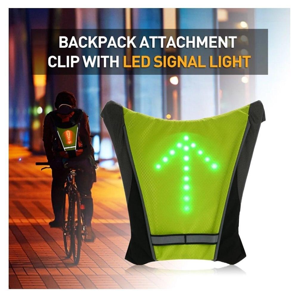 Sinal giratório iluminado de bicicleta, indicador de bicicleta, para caminhadas ao ar livre, camping, colete reflexivo, segurança da bicicleta, mochila led