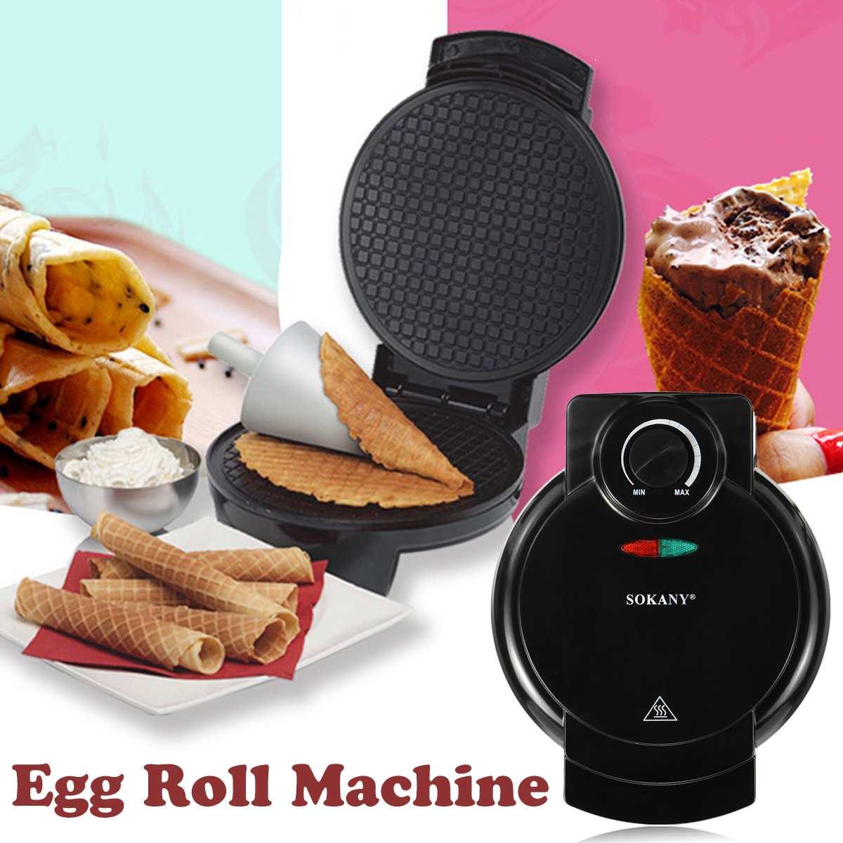 Electric Eggs Roll Maker LED Crispy Omelet Non-Stick Baking DIY  Ice Cream Crust Pancake Machine Automatic Temperature Control недорого