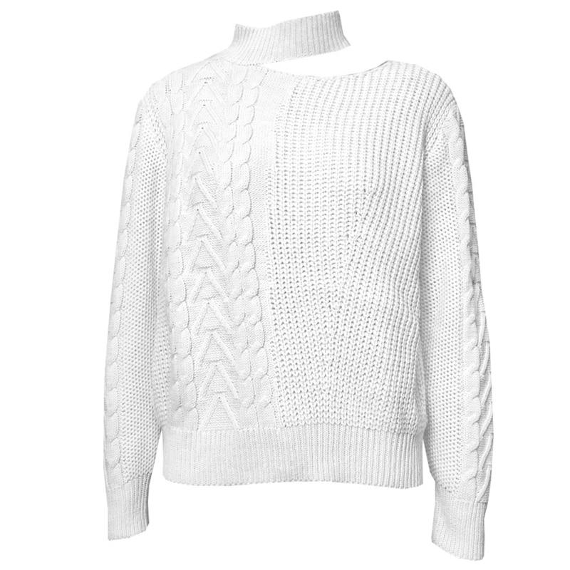 Women Long Sleeve Turtleneck Sweater Sexy Irregular Off Shoulder Knit Jumper Top enlarge