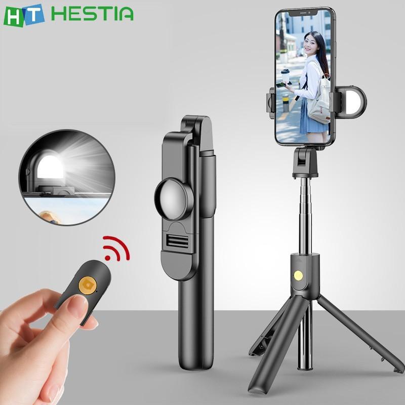 K10S 360 ° rotación trípode/palo Selfie con llenar de luz Bluetooth Control remoto inalámbrico portátil multifunción de soporte de Smartphone