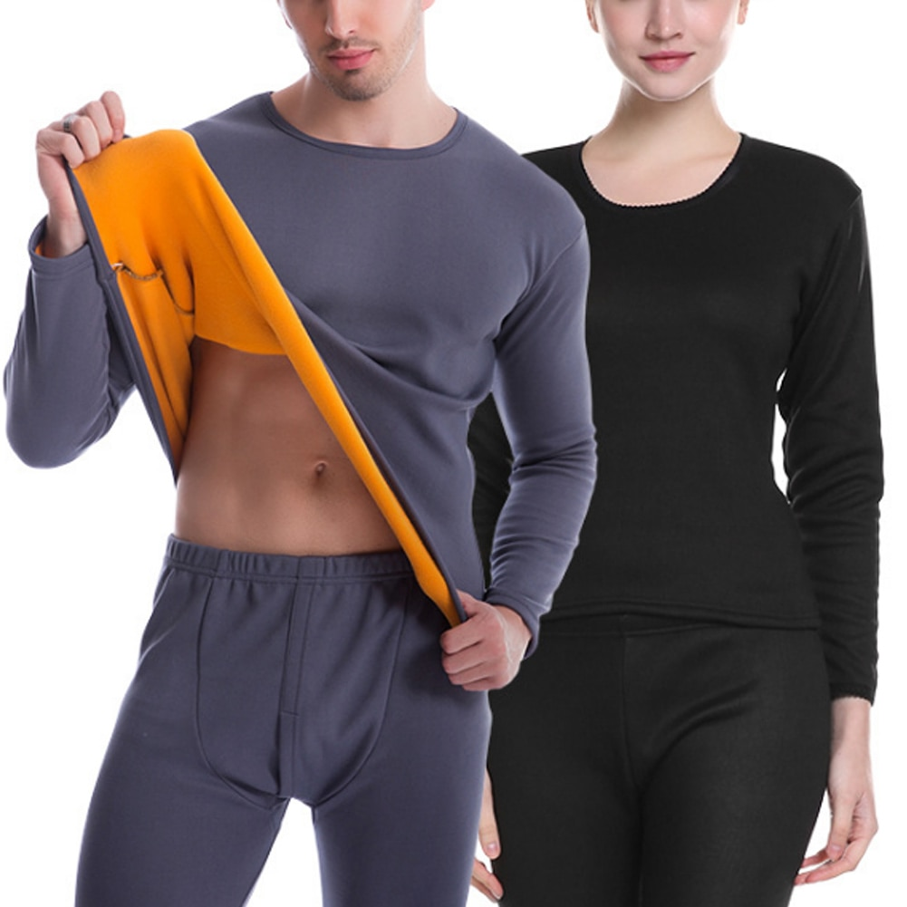 Women/Men Ultra Soft Thermals Underwear Long Johns Set with Thick Plush Lined A66